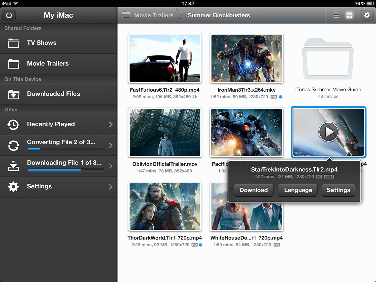 Air Video Server for Mac OS X full screenshot